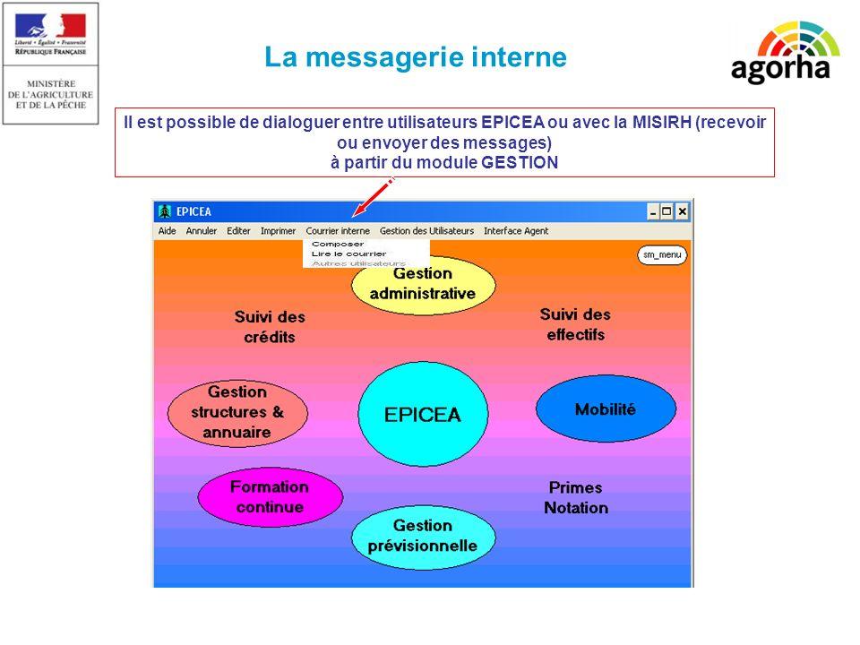 La messagerie interne Il est possible de dialoguer entre utilisateurs EPICEA ou avec la MISIRH (recevoir ou envoyer des messages) à partir du module GESTION
