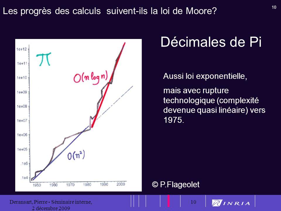 10 Deransart, Pierre - Séminaire interne, 2 décembre 2009 10 Les progrès des calculs suivent-ils la loi de Moore.