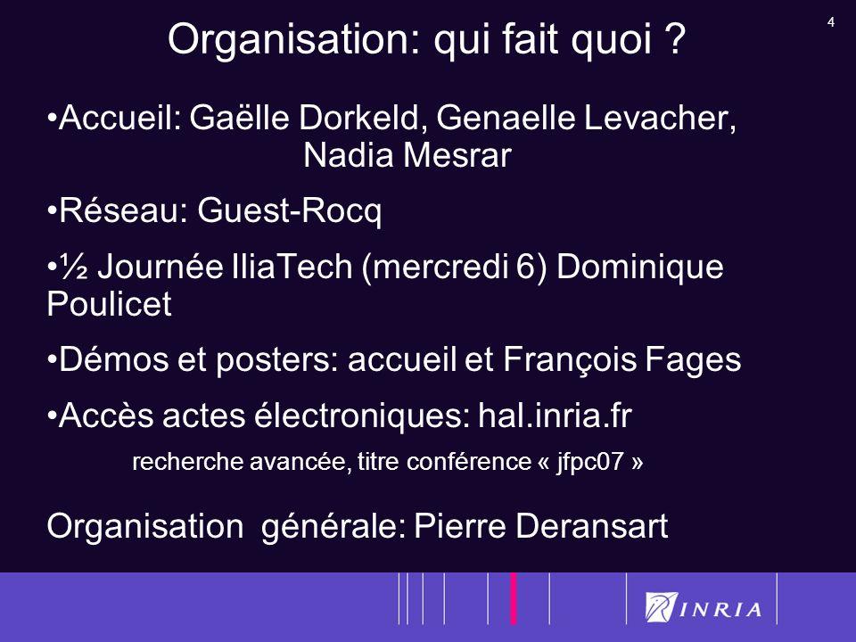 4 Organisation: qui fait quoi ? Accueil: Gaëlle Dorkeld, Genaelle Levacher, Nadia Mesrar Réseau: Guest-Rocq ½ Journée IliaTech (mercredi 6) Dominique