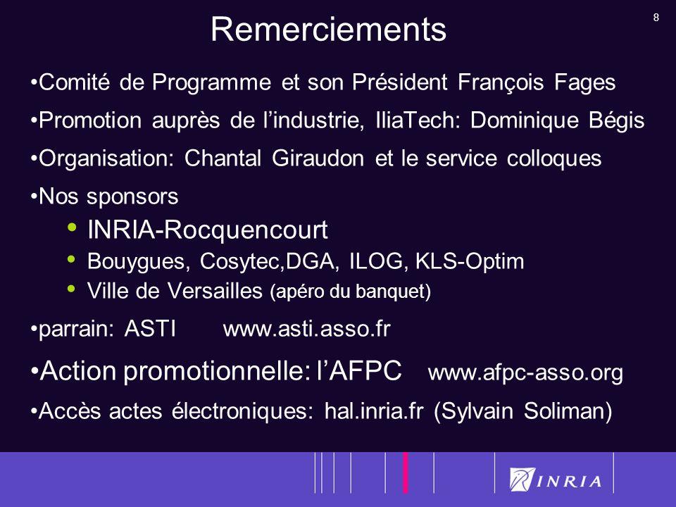 8 Remerciements Comité de Programme et son Président François Fages Promotion auprès de lindustrie, IliaTech: Dominique Bégis Organisation: Chantal Gi