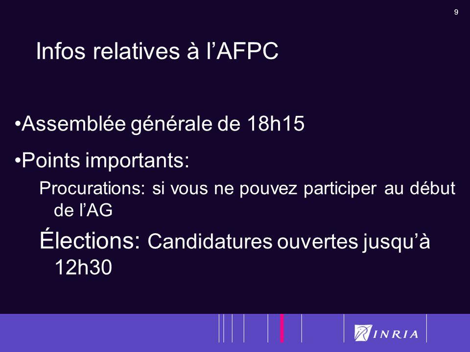 9 Infos relatives à lAFPC Assemblée générale de 18h15 Points importants: Procurations: si vous ne pouvez participer au début de lAG Élections: Candida