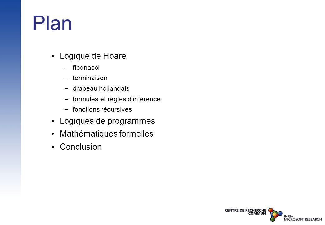 Plan Logique de Hoare – fibonacci – terminaison – drapeau hollandais – formules et règles d'inférence – fonctions récursives Logiques de programmes Ma