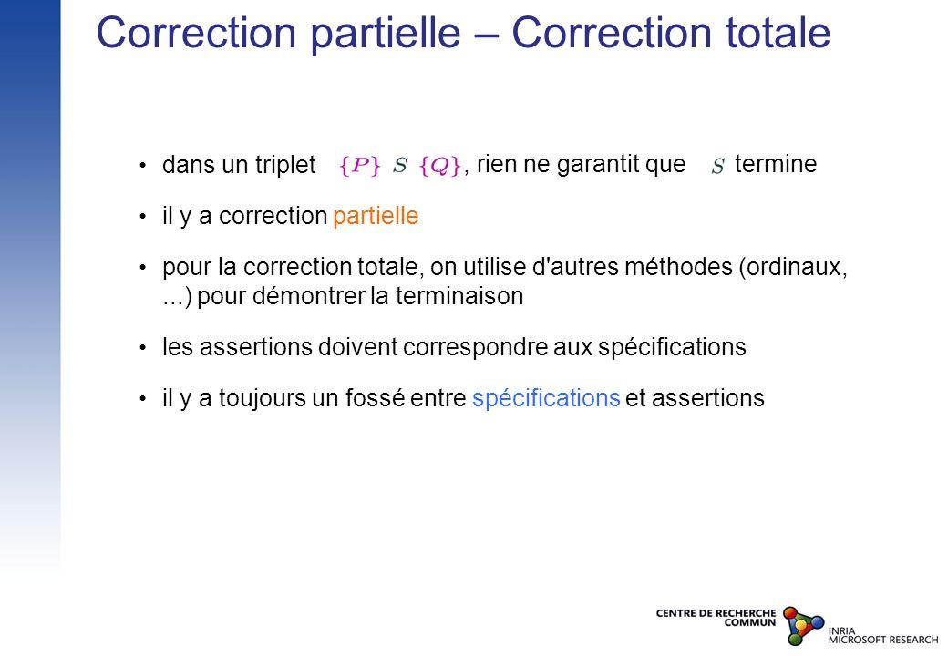 Correction partielle – Correction totale dans un triplet il y a correction partielle pour la correction totale, on utilise d'autres méthodes (ordinaux