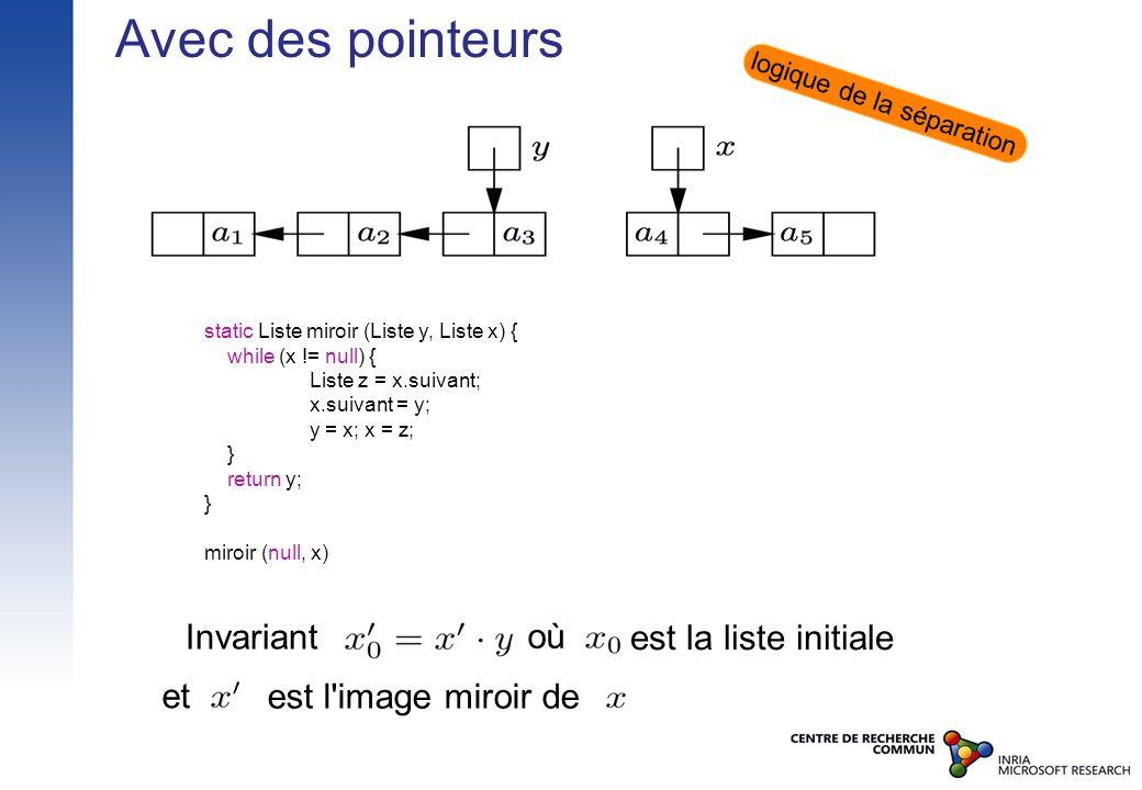 Avec des pointeurs static Liste miroir (Liste y, Liste x) { while (x != null) { Liste z = x.suivant; x.suivant = y; y = x; x = z; } return y; } miroir