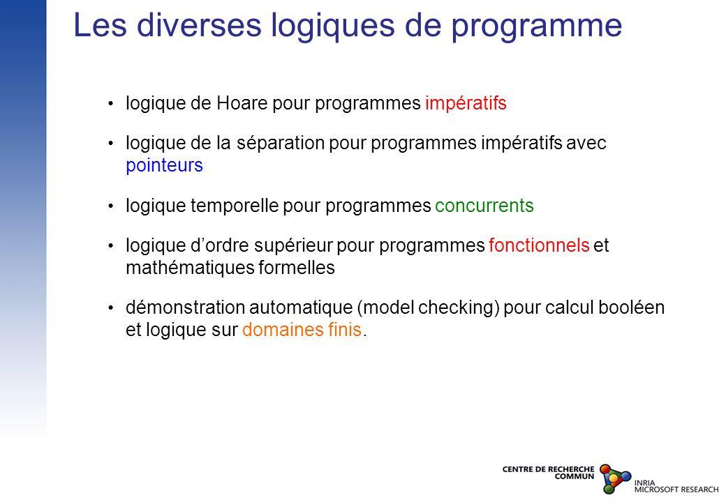 Les diverses logiques de programme logique de Hoare pour programmes impératifs logique de la séparation pour programmes impératifs avec pointeurs logi