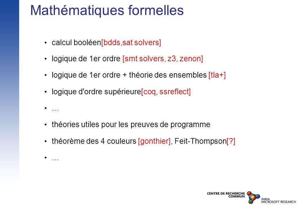 Mathématiques formelles calcul booléen[bdds,sat solvers] logique de 1er ordre [smt solvers, z3, zenon] logique de 1er ordre + théorie des ensembles [t