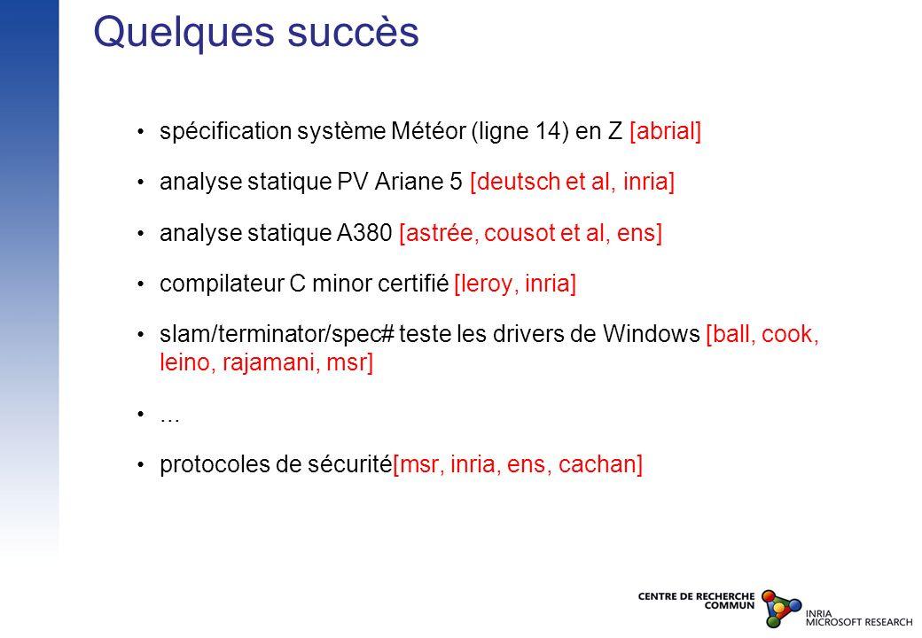 Quelques succès spécification système Météor (ligne 14) en Z [abrial] analyse statique PV Ariane 5 [deutsch et al, inria] analyse statique A380 [astré