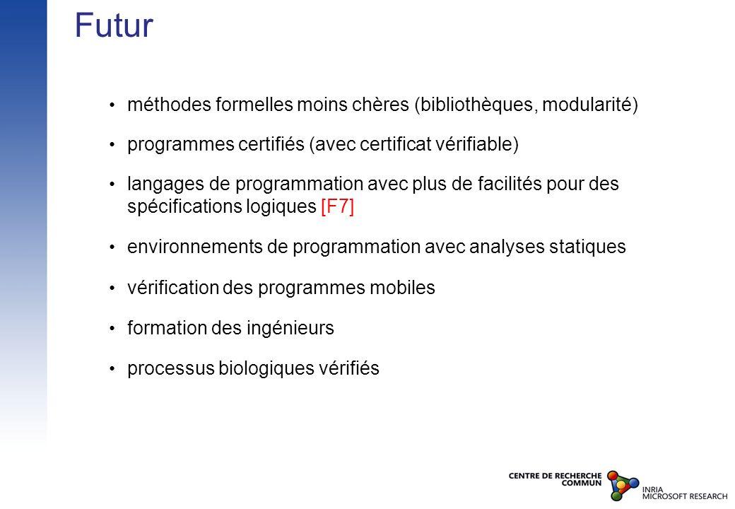 Futur méthodes formelles moins chères (bibliothèques, modularité) programmes certifiés (avec certificat vérifiable) langages de programmation avec plu