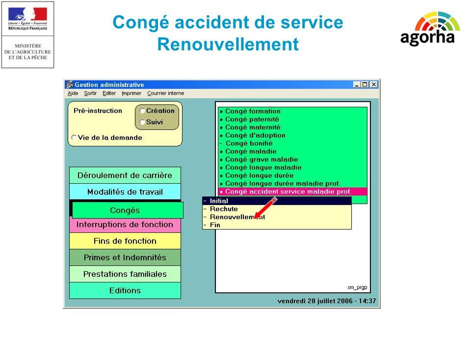 Congé accident de service Renouvellement