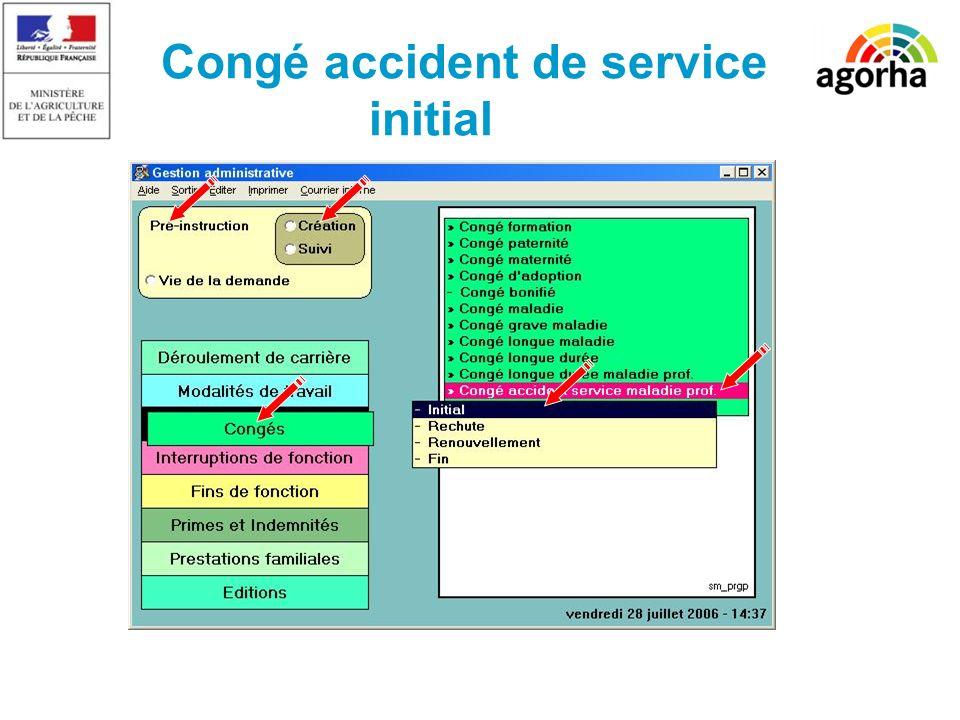 Congé accident de service initial