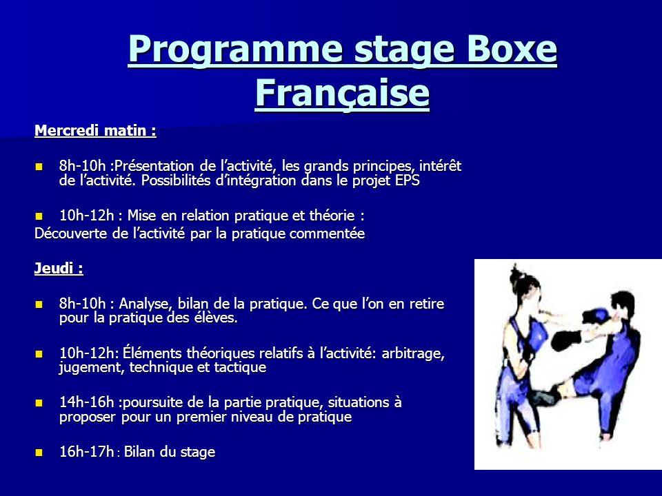 Programme stage Boxe Française Mercredi matin : 8h-10h :Présentation de lactivité, les grands principes, intérêt de lactivité. Possibilités dintégrati