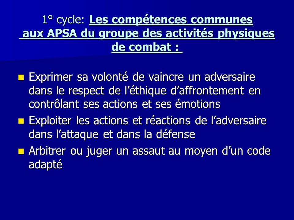 1° cycle: Les compétences communes aux APSA du groupe des activités physiques de combat : 1° cycle: Les compétences communes aux APSA du groupe des ac