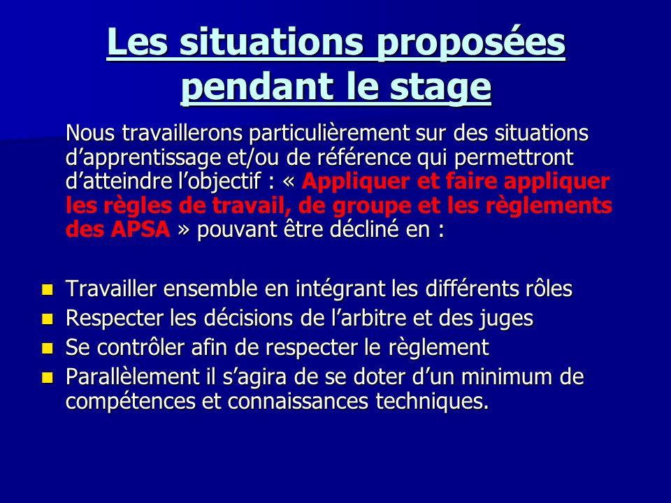 Les situations proposées pendant le stage Nous travaillerons particulièrement sur des situations dapprentissage et/ou de référence qui permettront dat
