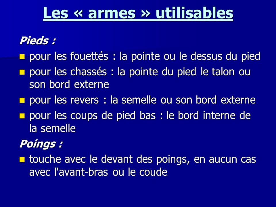 Les « armes » utilisables Pieds : pour les fouettés : la pointe ou le dessus du pied pour les fouettés : la pointe ou le dessus du pied pour les chass