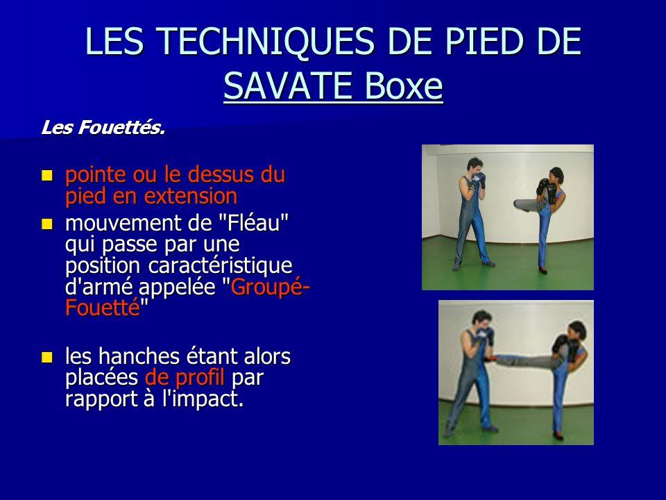 LES TECHNIQUES DE PIED DE SAVATE Boxe Les Fouettés. pointe ou le dessus du pied en extension pointe ou le dessus du pied en extension mouvement de