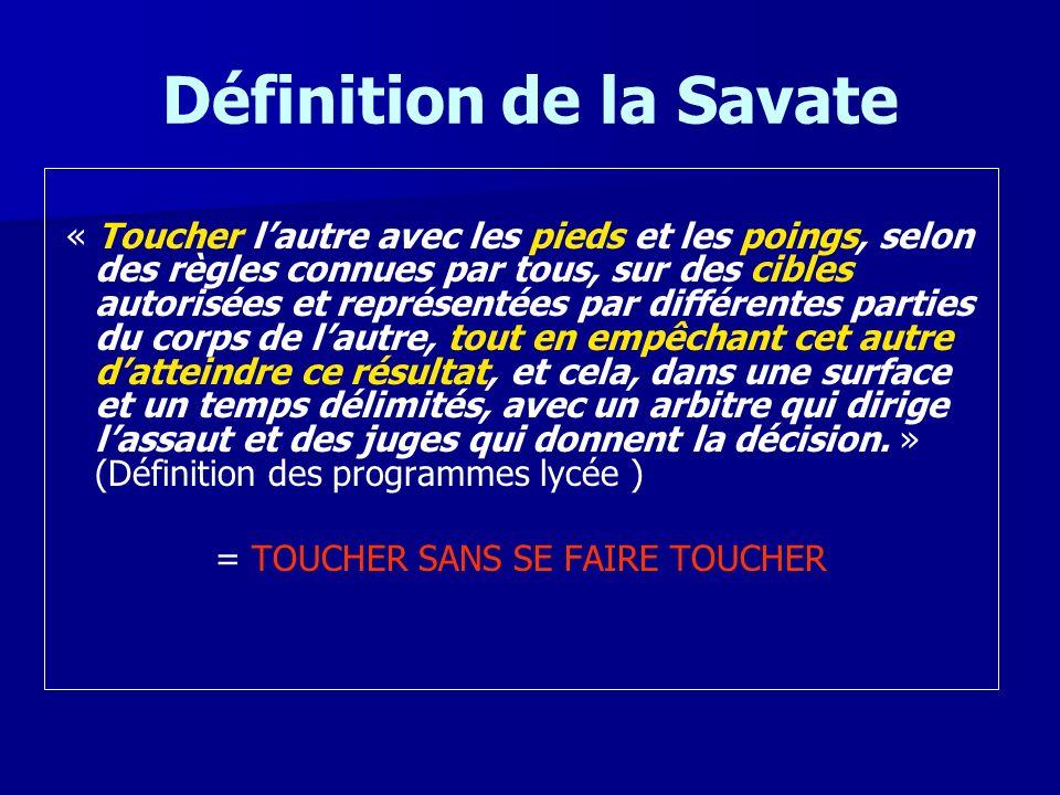 Définition de la Savate « Toucher lautre avec les pieds et les poings, selon des règles connues par tous, sur des cibles autorisées et représentées pa