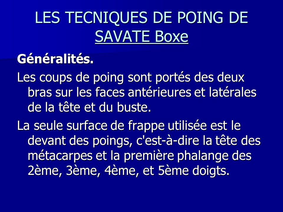 LES TECNIQUES DE POING DE SAVATE Boxe Généralités. Les coups de poing sont portés des deux bras sur les faces antérieures et latérales de la tête et d