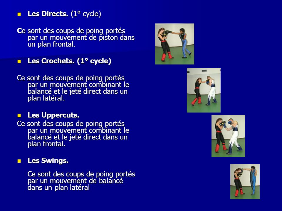 Les Directs. (1° cycle) Les Directs. (1° cycle) Ce sont des coups de poing portés par un mouvement de piston dans un plan frontal. Les Crochets. (1° c
