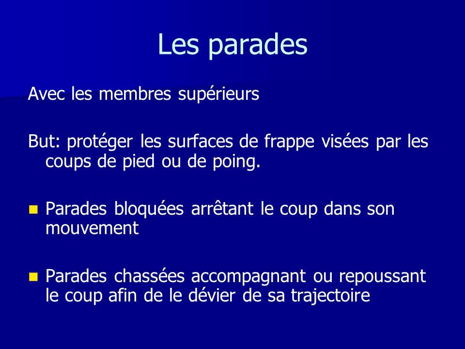 Les parades Avec les membres supérieurs But: protéger les surfaces de frappe visées par les coups de pied ou de poing. Parades bloquées arrêtant le co