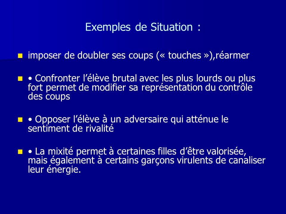 Exemples de Situation : imposer de doubler ses coups (« touches »),réarmer Confronter lélève brutal avec les plus lourds ou plus fort permet de modifi