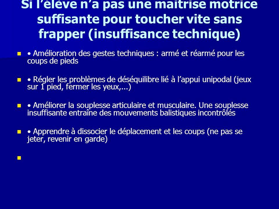 Si lélève na pas une maitrise motrice suffisante pour toucher vite sans frapper (insuffisance technique) Amélioration des gestes techniques : armé et