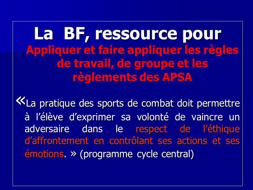 La BF, ressource pour La BF, ressource pour Appliquer et faire appliquer les règles de travail, de groupe et les règlements des APSA « La pratique des