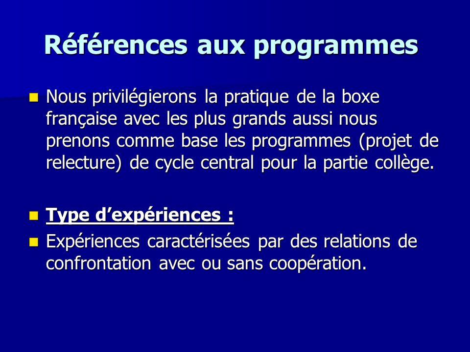 Références aux programmes Références aux programmes Nous privilégierons la pratique de la boxe française avec les plus grands aussi nous prenons comme