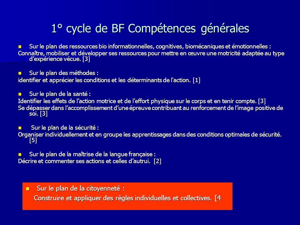 1° cycle de BF Compétences générales Sur le plan des ressources bio informationnelles, cognitives, biomécaniques et émotionnelles : Sur le plan des re