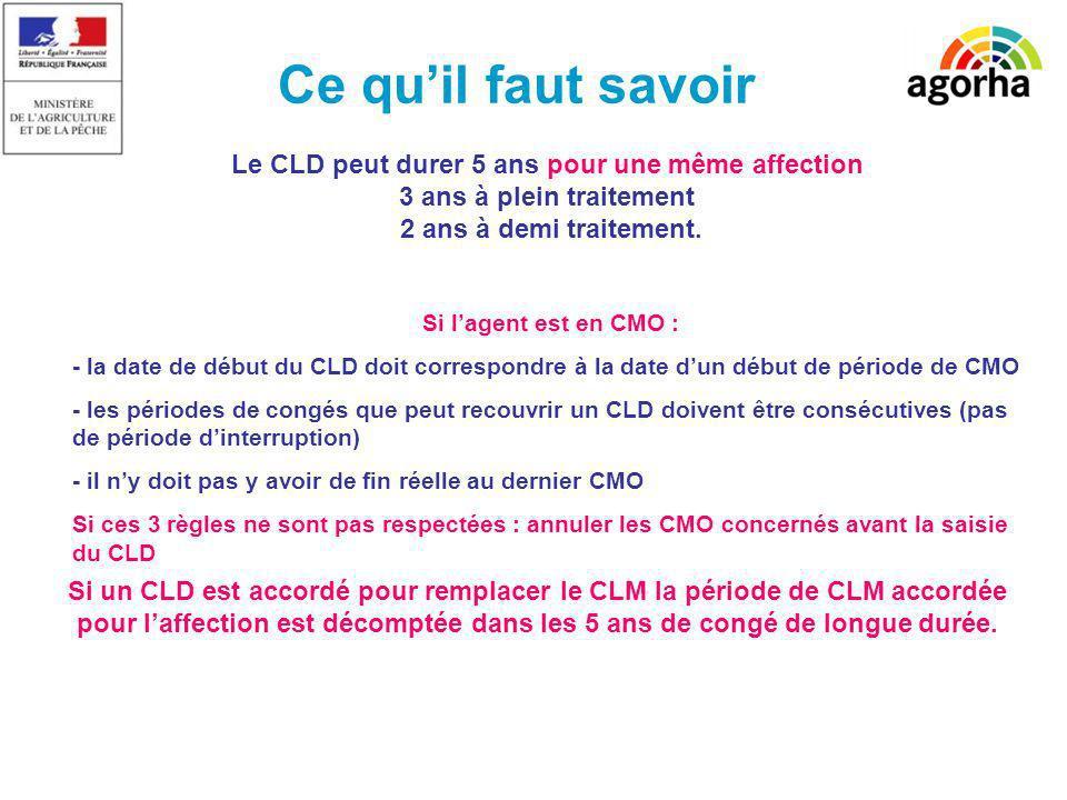 Ce quil faut savoir Le CLD peut durer 5 ans pour une même affection 3 ans à plein traitement 2 ans à demi traitement. Si un CLD est accordé pour rempl