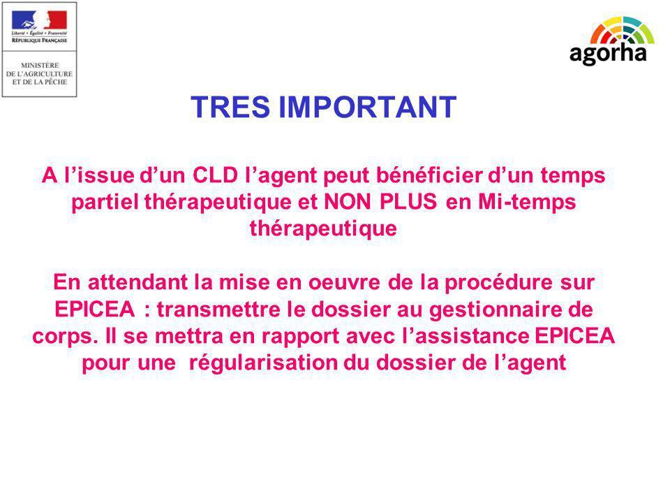 TRES IMPORTANT A lissue dun CLD lagent peut bénéficier dun temps partiel thérapeutique et NON PLUS en Mi-temps thérapeutique En attendant la mise en o