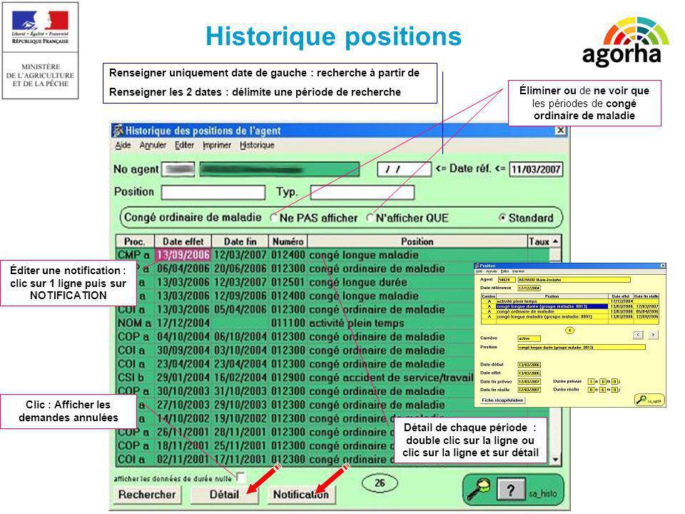 Historique positions Renseigner uniquement date de gauche : recherche à partir de Renseigner les 2 dates : délimite une période de recherche Détail de