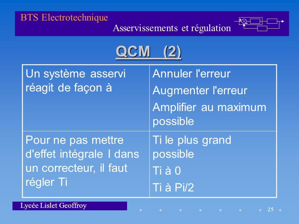 Asservissements et régulation BTS Electrotechnique Lycée Lislet Geoffroy 25 QCM (2) Un système asservi réagit de façon à Annuler l'erreur Augmenter l'