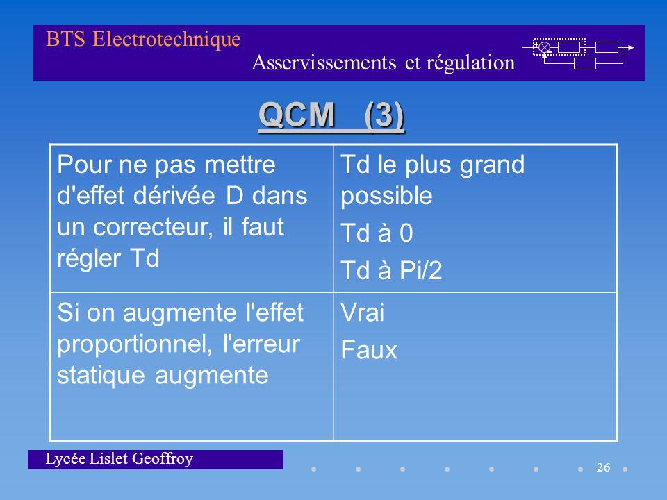 Asservissements et régulation BTS Electrotechnique Lycée Lislet Geoffroy 26 QCM (3) Pour ne pas mettre d'effet dérivée D dans un correcteur, il faut r