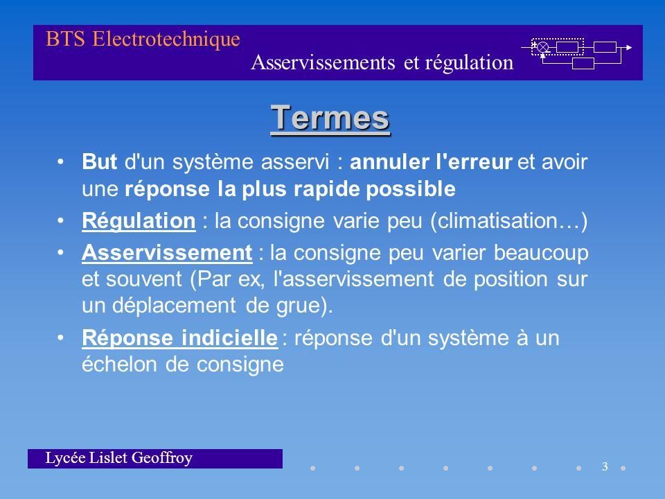 Asservissements et régulation BTS Electrotechnique Lycée Lislet Geoffroy 3 Termes But d'un système asservi : annuler l'erreur et avoir une réponse la