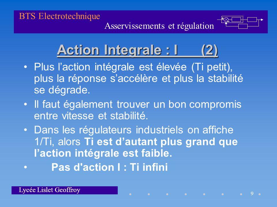 Asservissements et régulation BTS Electrotechnique Lycée Lislet Geoffroy 9 Action Integrale : I (2) Plus laction intégrale est élevée (Ti petit), plus