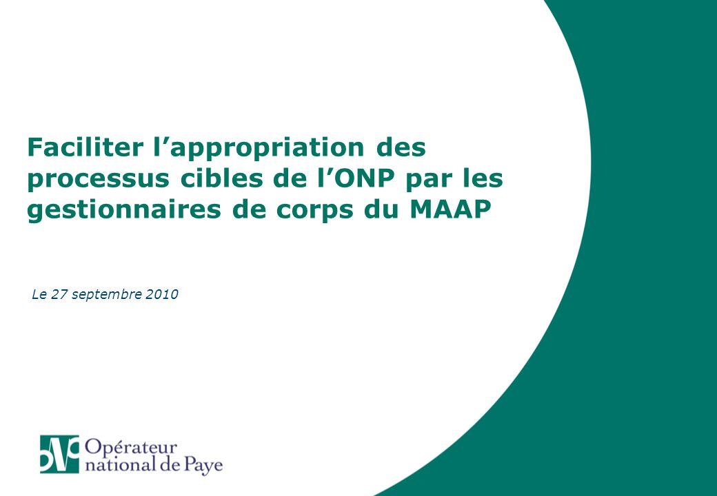 Faciliter lappropriation des processus cibles de lONP par les gestionnaires de corps du MAAP Le 27 septembre 2010