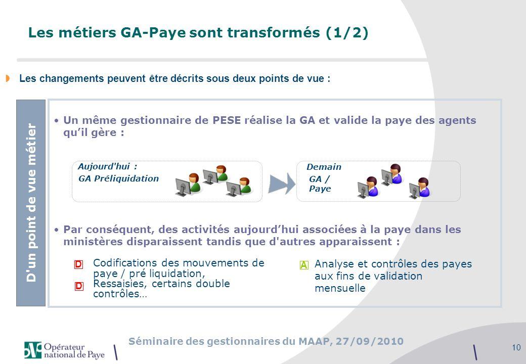 Séminaire des gestionnaires du MAAP, 27/09/2010 10 Un même gestionnaire de PESE réalise la GA et valide la paye des agents quil gère : Par conséquent,