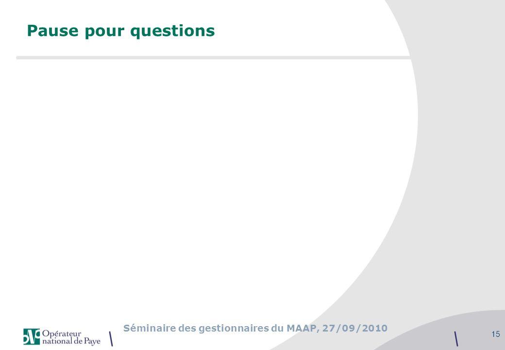 Séminaire des gestionnaires du MAAP, 27/09/2010 15 Pause pour questions