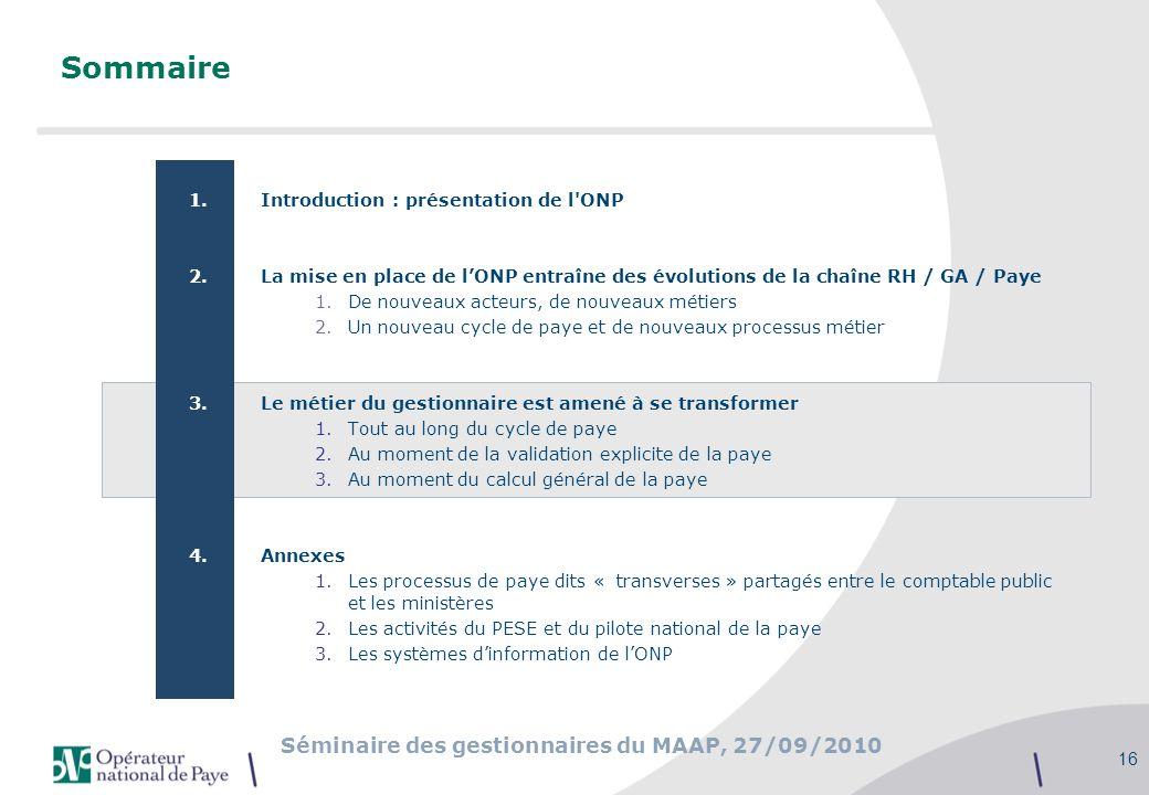 Séminaire des gestionnaires du MAAP, 27/09/2010 16 Sommaire 1.Introduction : présentation de l'ONP 2.La mise en place de lONP entraîne des évolutions