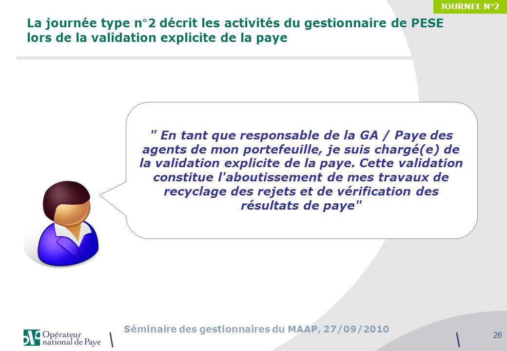 Séminaire des gestionnaires du MAAP, 27/09/2010 26 La journée type n°2 décrit les activités du gestionnaire de PESE lors de la validation explicite de
