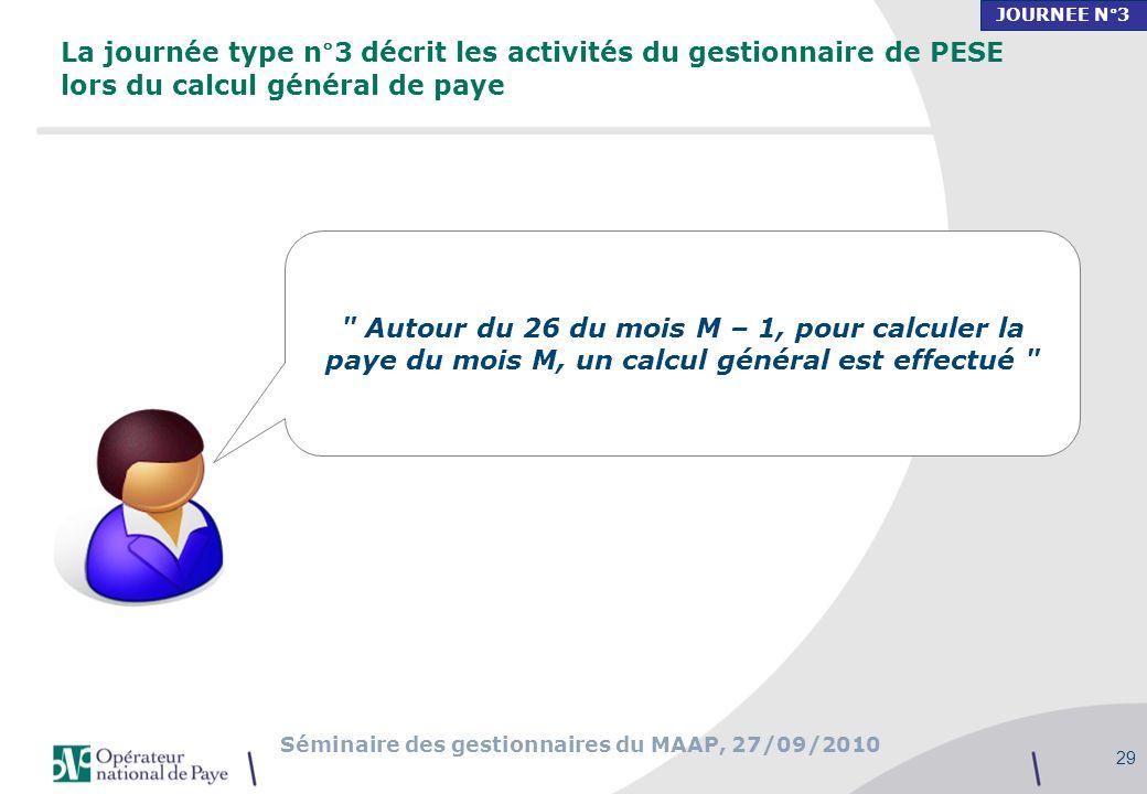 Séminaire des gestionnaires du MAAP, 27/09/2010 29 La journée type n°3 décrit les activités du gestionnaire de PESE lors du calcul général de paye