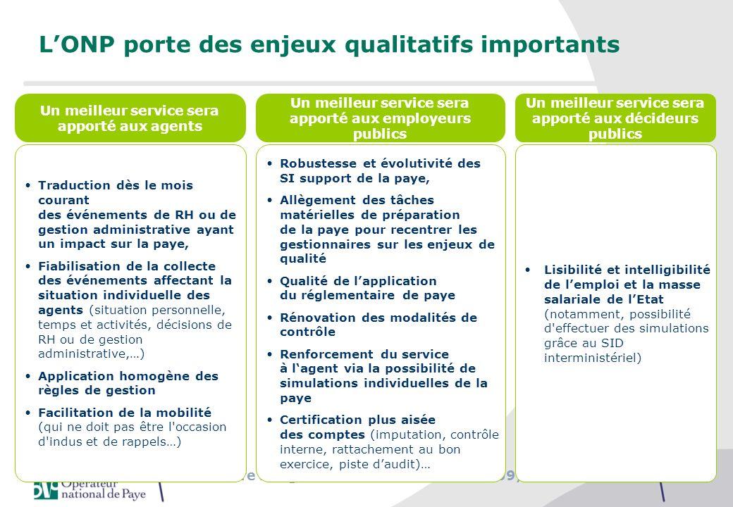 Séminaire des gestionnaires du MAAP, 27/09/2010 LONP porte des enjeux qualitatifs importants Un meilleur service sera apporté aux agents Un meilleur s