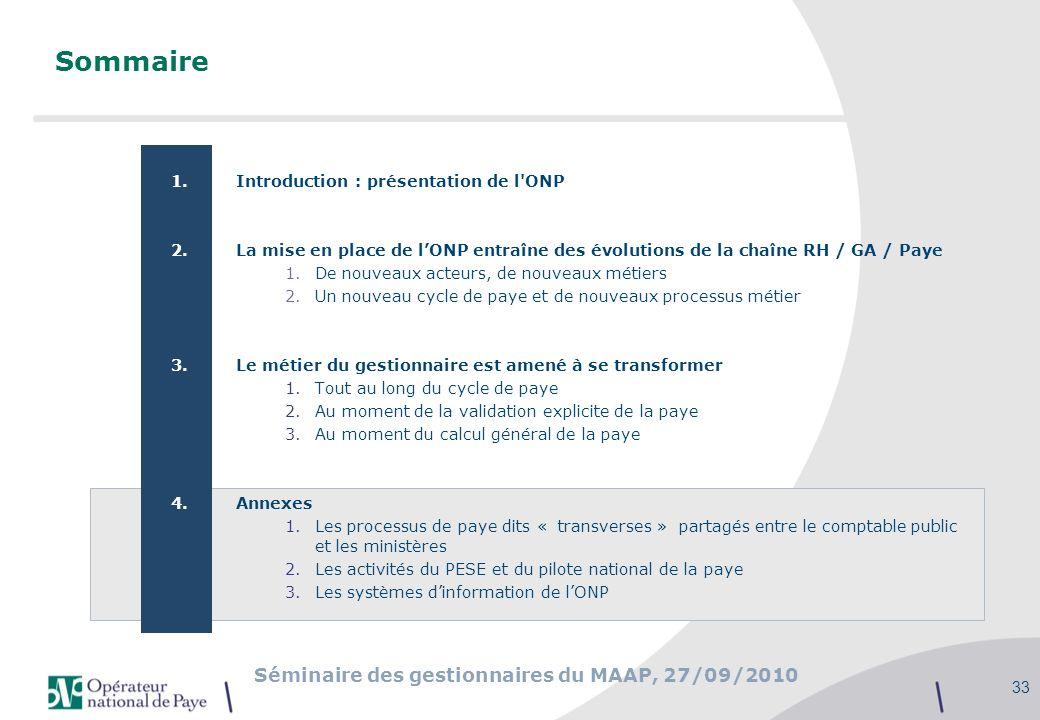 Séminaire des gestionnaires du MAAP, 27/09/2010 33 Sommaire 1.Introduction : présentation de l'ONP 2.La mise en place de lONP entraîne des évolutions