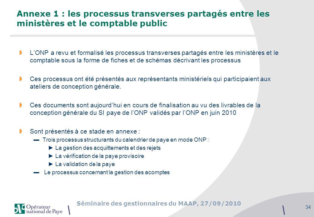 Séminaire des gestionnaires du MAAP, 27/09/2010 34 Annexe 1 : les processus transverses partagés entre les ministères et le comptable public LONP a re