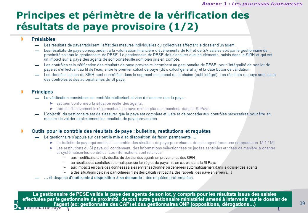 Séminaire des gestionnaires du MAAP, 27/09/2010 39 Principes et périmètre de la vérification des résultats de paye provisoire (1/2) Préalables Les rés