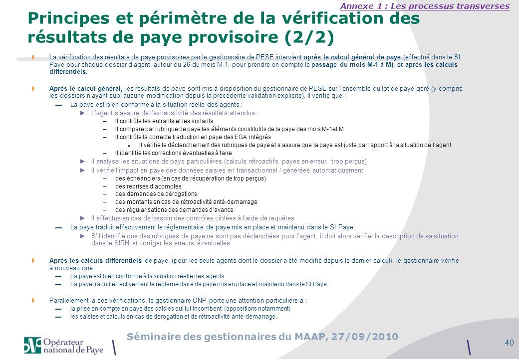 Séminaire des gestionnaires du MAAP, 27/09/2010 40 Principes et périmètre de la vérification des résultats de paye provisoire (2/2) La vérification de