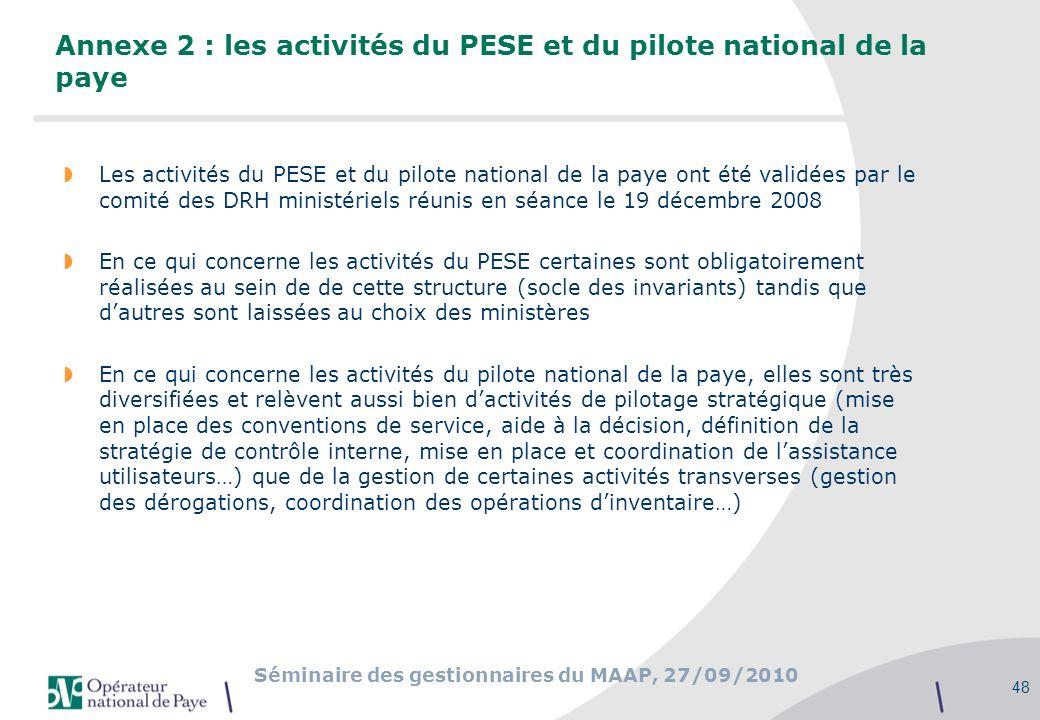 Séminaire des gestionnaires du MAAP, 27/09/2010 48 Annexe 2 : les activités du PESE et du pilote national de la paye Les activités du PESE et du pilot