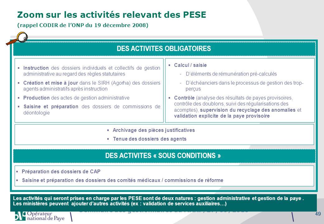 Séminaire des gestionnaires du MAAP, 27/09/2010 49 Zoom sur les activités relevant des PESE (rappel CODIR de lONP du 19 décembre 2008) DES ACTIVITES O