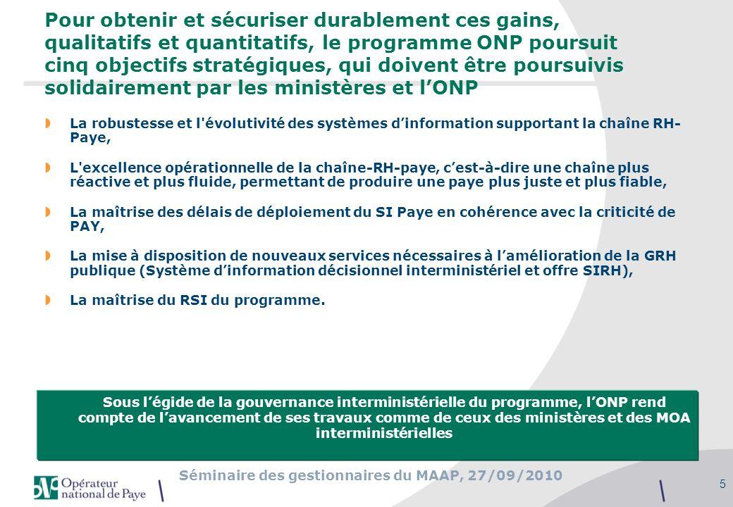 Séminaire des gestionnaires du MAAP, 27/09/2010 5 Pour obtenir et sécuriser durablement ces gains, qualitatifs et quantitatifs, le programme ONP pours