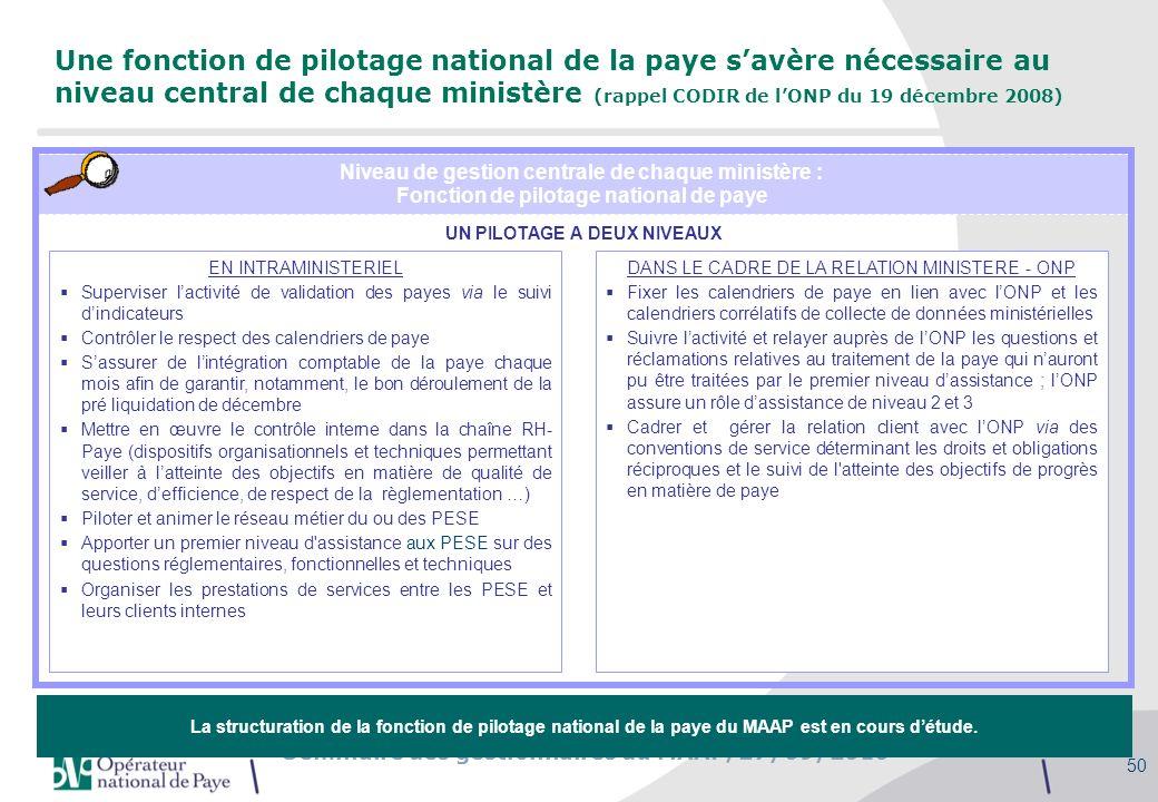 Séminaire des gestionnaires du MAAP, 27/09/2010 50 Une fonction de pilotage national de la paye savère nécessaire au niveau central de chaque ministèr